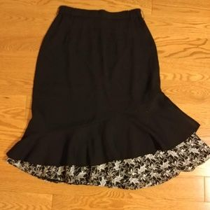 Vintage black lace trumpet skirt